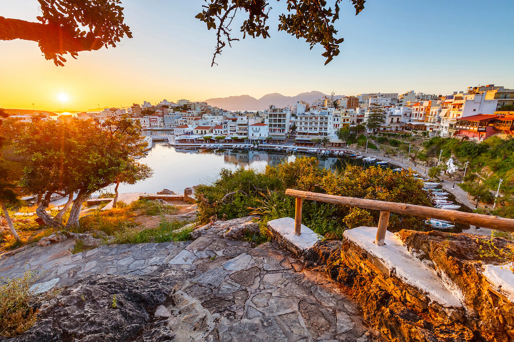 Agios Nikolaos, Greece - Morning view of Agios Nikolaos and its harbor, Crete, Greece.