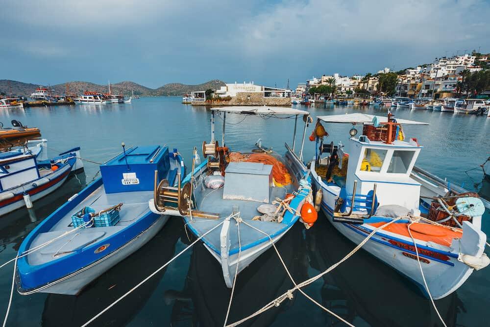 Crete, Elounda, Ships and fishing boats in the harbor of Elounda, Crete, Greece