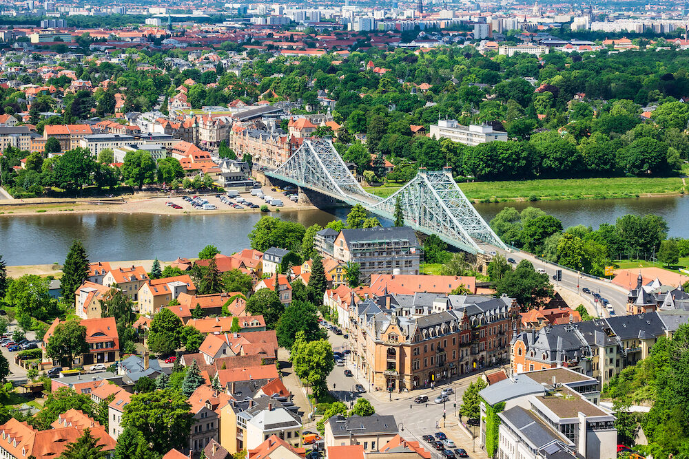 View over the river Elbe to Dresden, Germany.