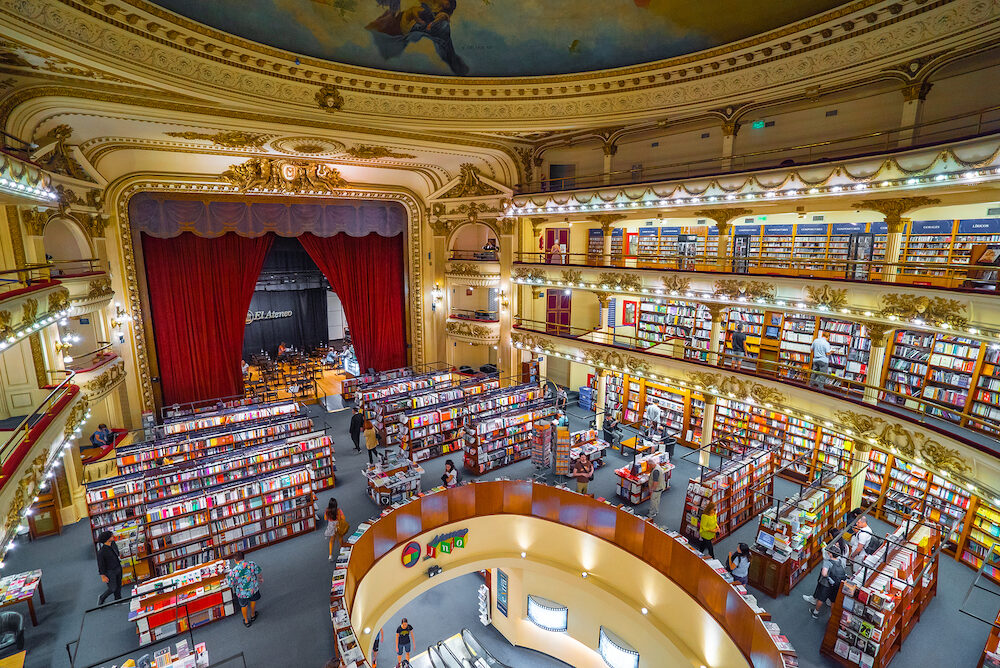 BUENOS AIRES - El Ateneo, the famous book store, Buenos Aires, Argentina. El Ateneo is located in the building of old theater.