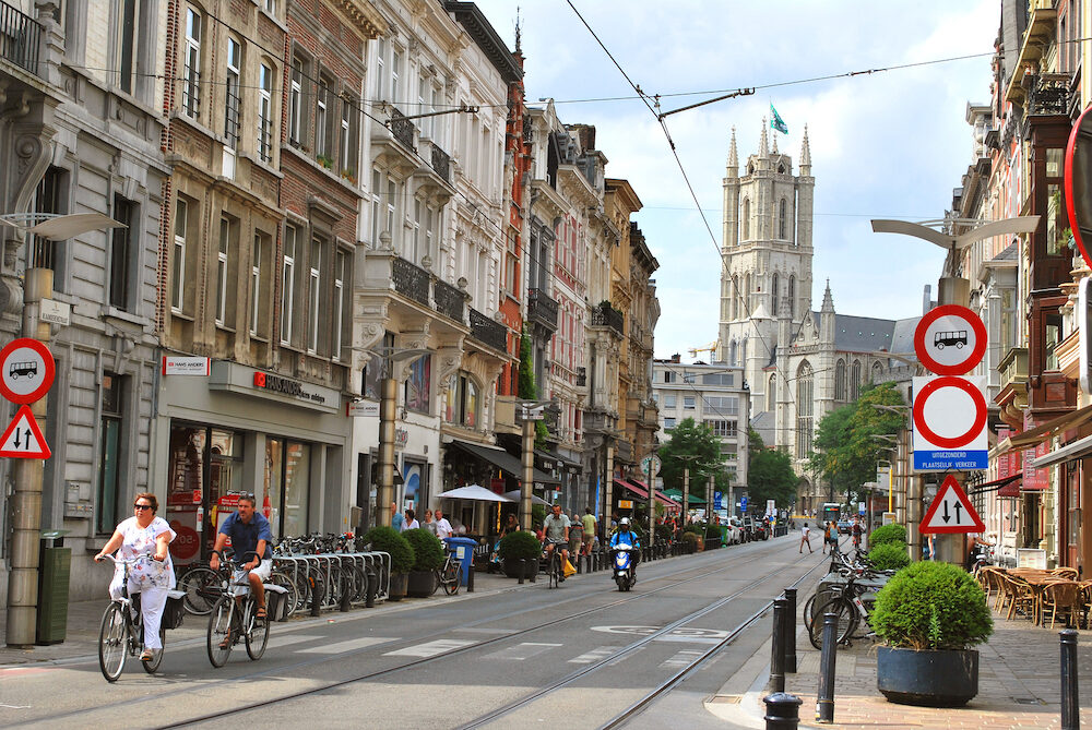 Ghent, East Flanders, Belgium - : The historical city center in Ghent