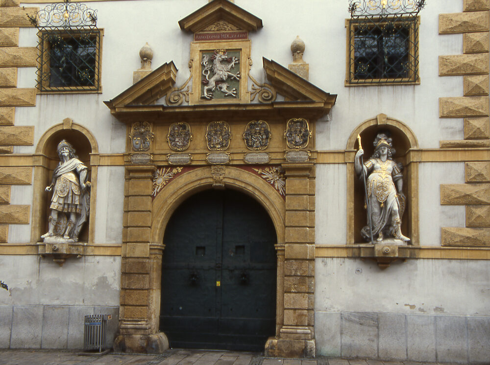 A view of the gate to the armoury builing in Graz