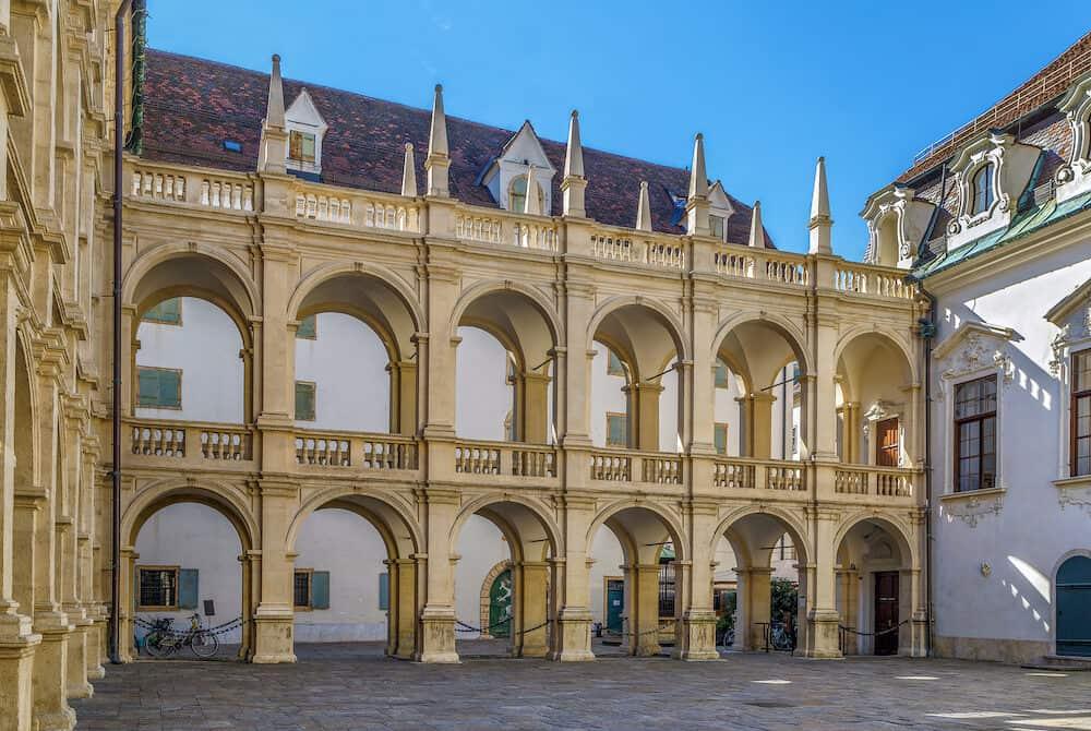 Arcade in the courtyard of Landhaus in Graz Austria