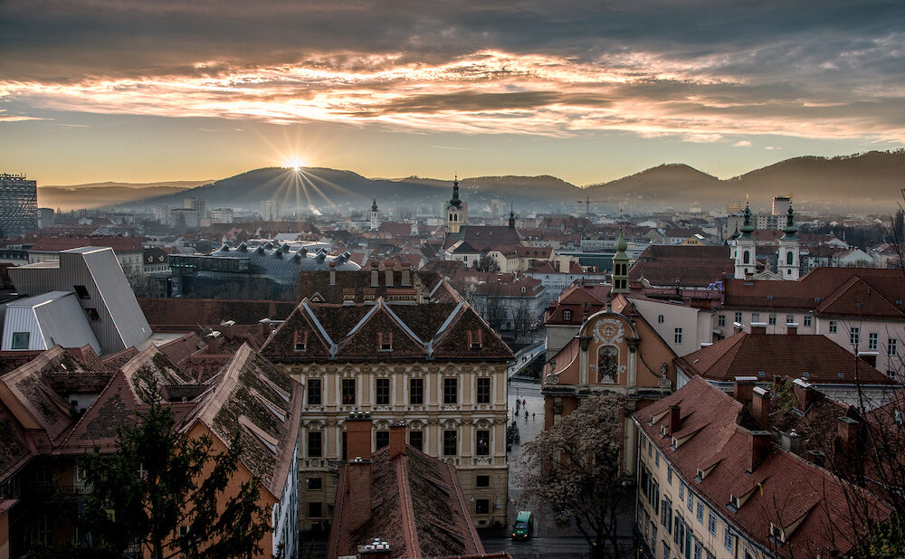 GRAZ, AUSTRIA - Cityscape with Sunset in Graz, Austria, view from Felsensteig.