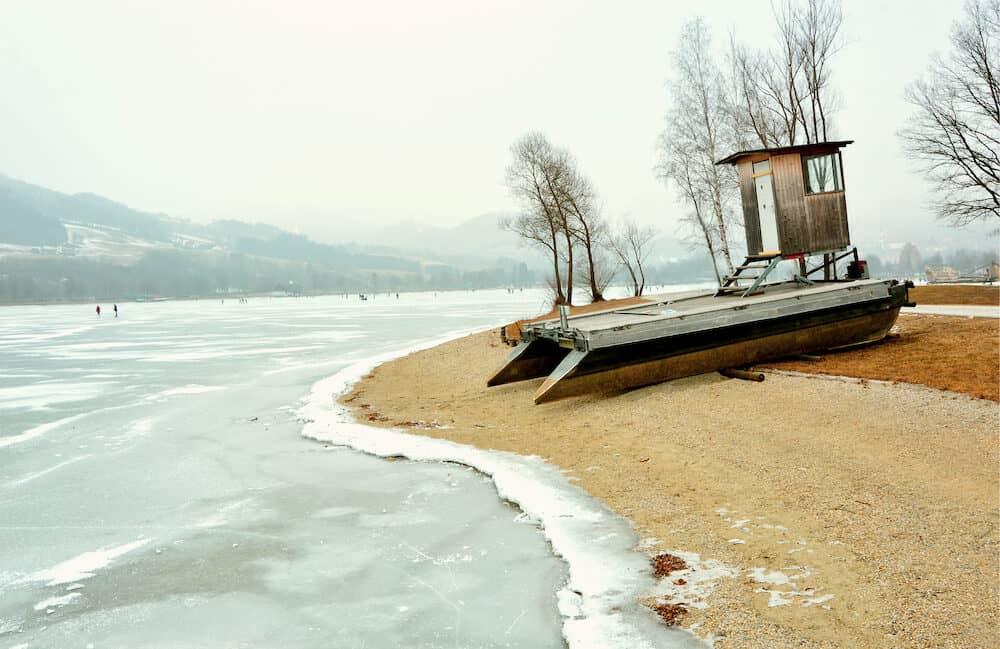 Frozen lakes at Stubenbergsee in Austria, styria