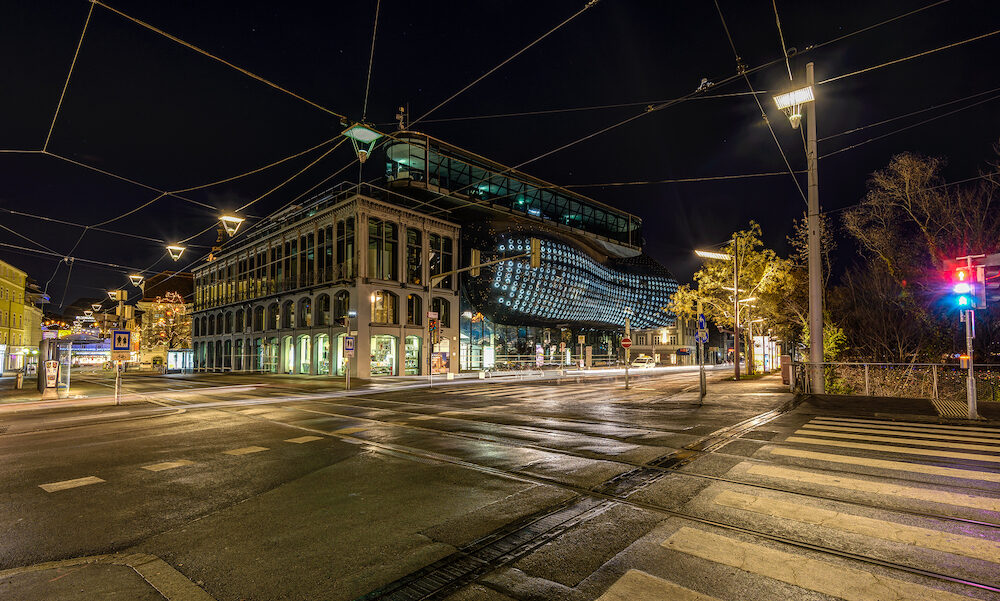 GRAZ, AUSTRIA - : Graz Art Museum, Kunsthaus Graz. Contemporary architecture designed by Colin Fournier together with Peter Cook. Night exterior view.