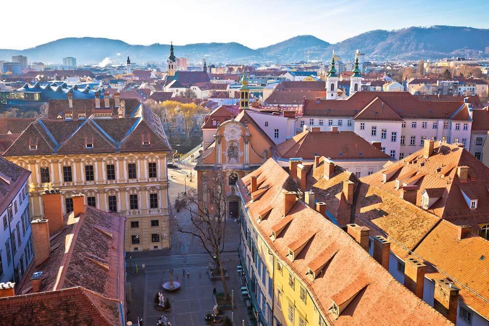 Graz city center aerial view, Styria region of Austria