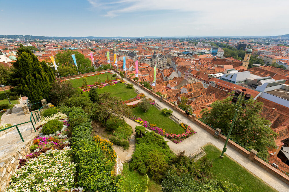 Graz city full of red roof, view from Schlossberg Castle Hill in Graz, summer in Austria, Europe