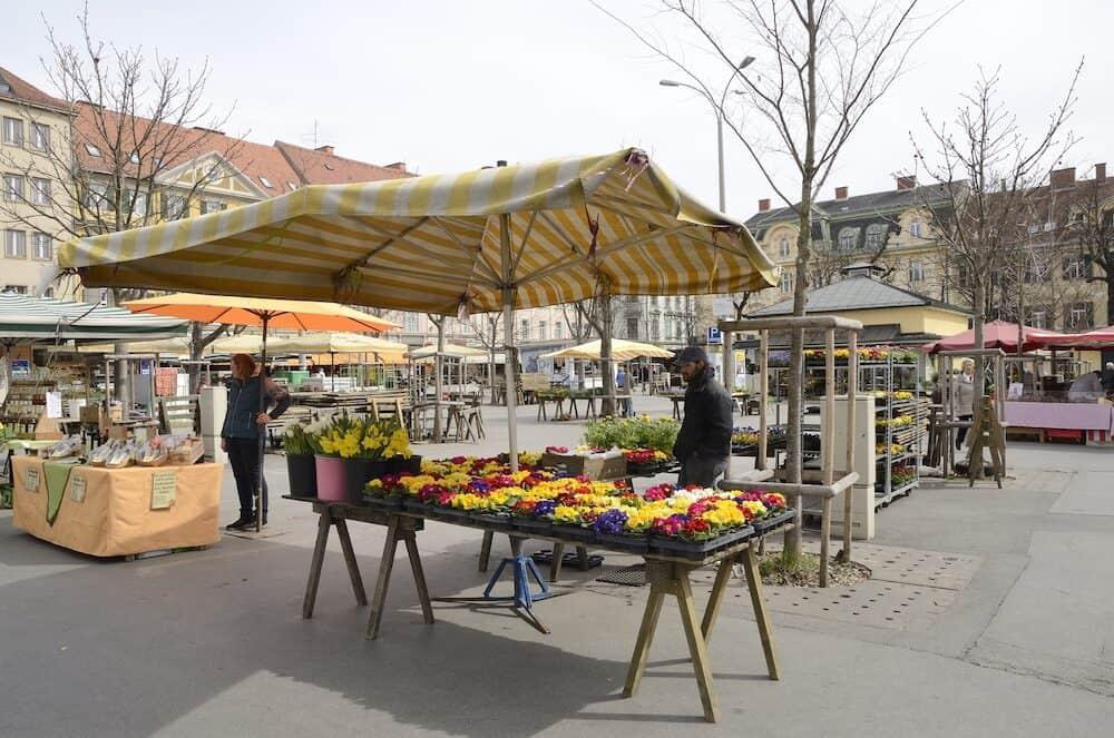 GRAZ, AUSTRIA - Stalls on market in square of Graz the capital of federal state of Styria Austria.
