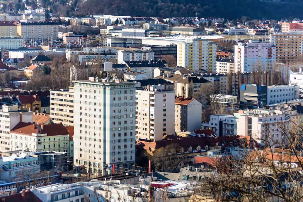 blocks of flats in graz, styria, austria