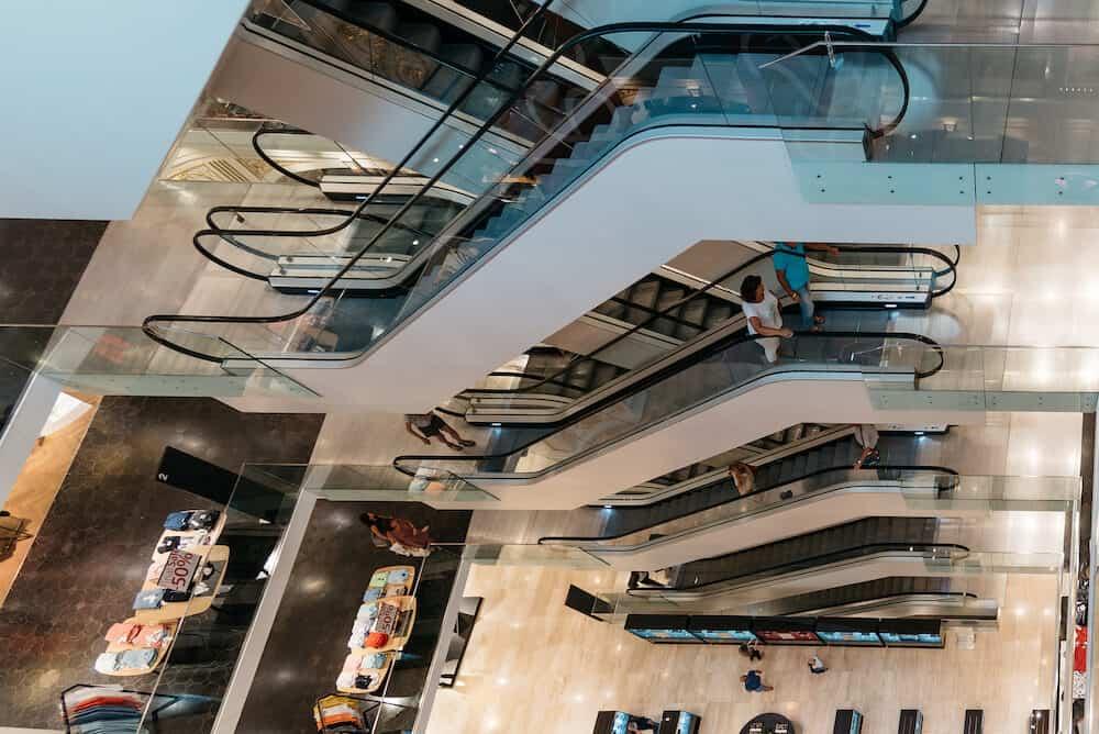 Graz, Austria - High angle view of escalators in shopping center in Graz