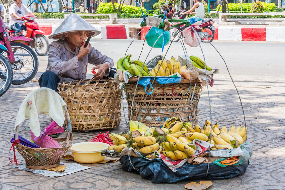Ho Chi Minh City, Vietnam Banana street vendor on Cholon market. The market is one of the citys largest.