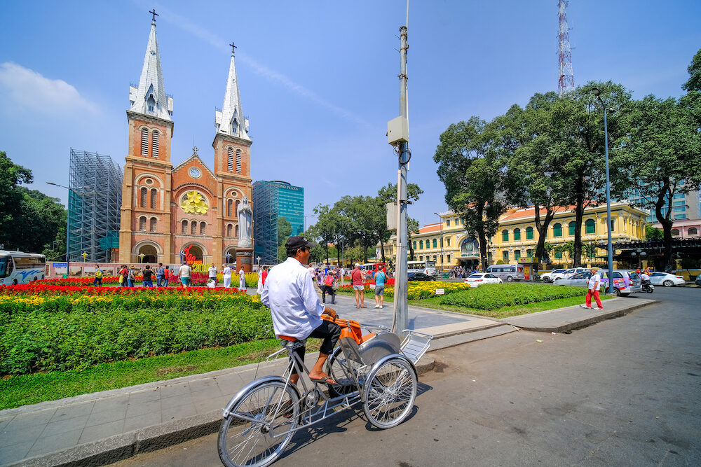 Ho Chi Minh city, Vietnam Notre Dame Cathedral or Nha Tho Duc Ba. Notre-Dame Cathedral Basilica of Saigon officially Cathedral Basilica is the most popular travel destinations in Ho Chi Minh