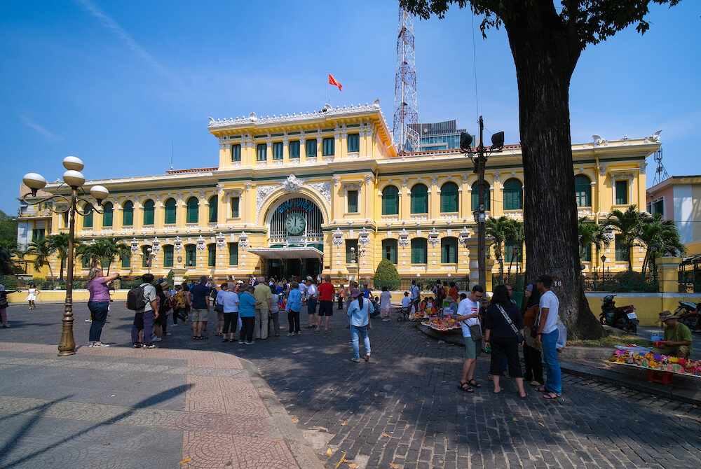 HO CHI MINH CITY, VIETNAM - The Ho Chi Minh City Post Office, or the Saigon Central Post Office is a post office in the downtown Ho Chi Minh City, near Saigon Notre-Dame Basilica. Vietnam
