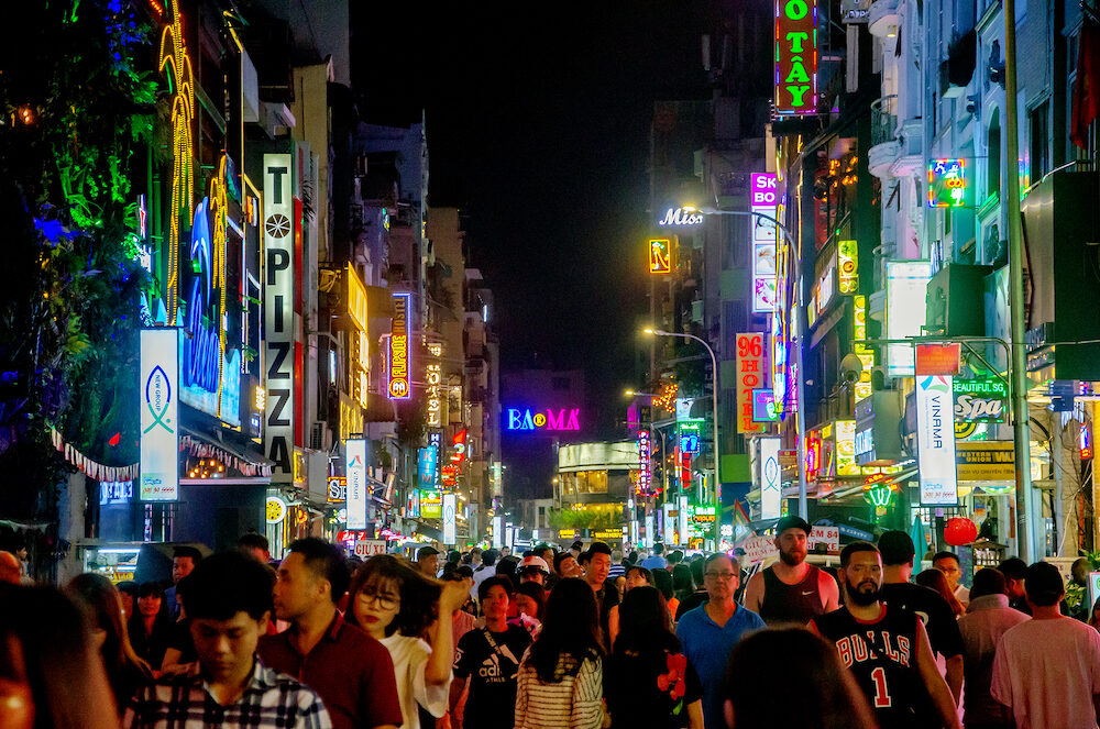 Ho Chi Minh City, Vietnam : night street view of Pham Ngu Lao street, the backpacker district of Saigon.
