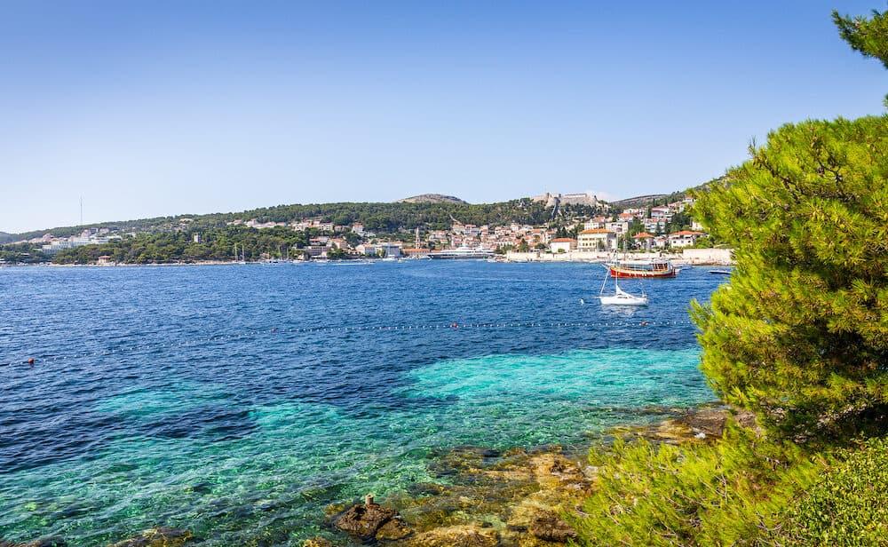 Adriatic sea scenery at touristic Hvar village, Croatia