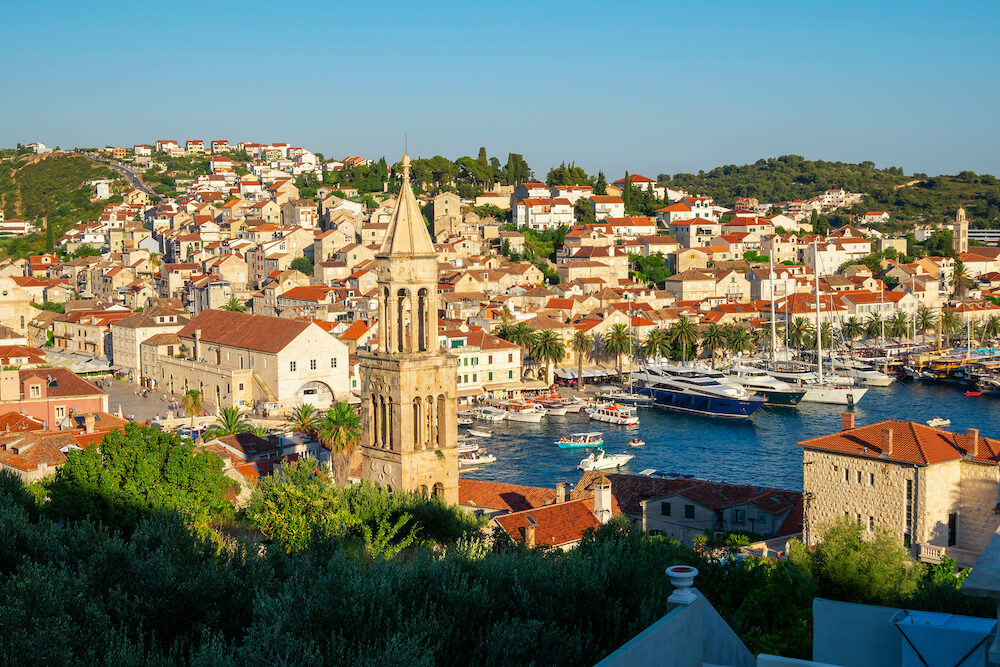 Panoramic view of Hvar Town in Croatia. Hvar Town is the famous town for summer beach vacation on Hvar Island in Dalmatia, Croaita.
