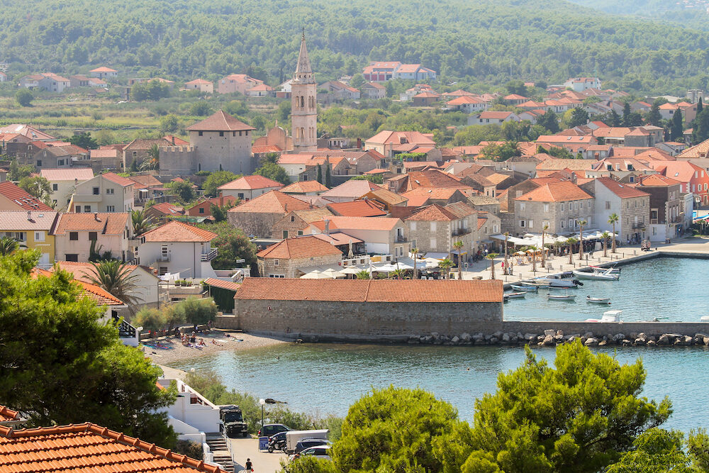 Panoramic view of Jelsa harbor Hvar Croatia