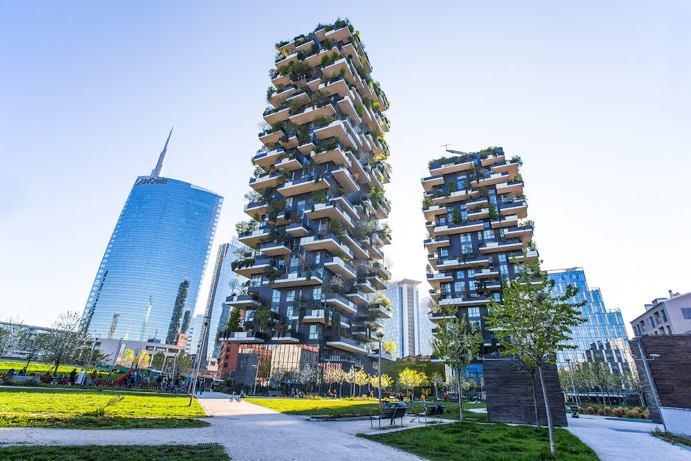 "MILAN, ITALY - ""Bosco Verticale"", vertical forest apartment and buildings and Unicredit Tower in the area ""Isola"" of the city of Milan, Italy"