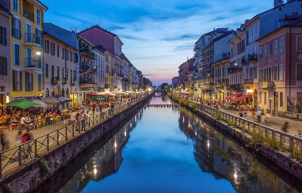 MILAN, ITALY, - Naviglio Grande canal in the evening, Milan, Italy