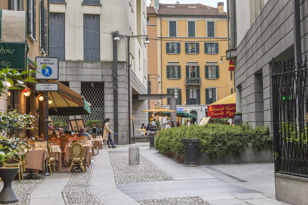 MILAN, ITALY - This is one of the pedestrian streets in the Brera district, which is one of the most popular areas of the city for relaxing in the evening.