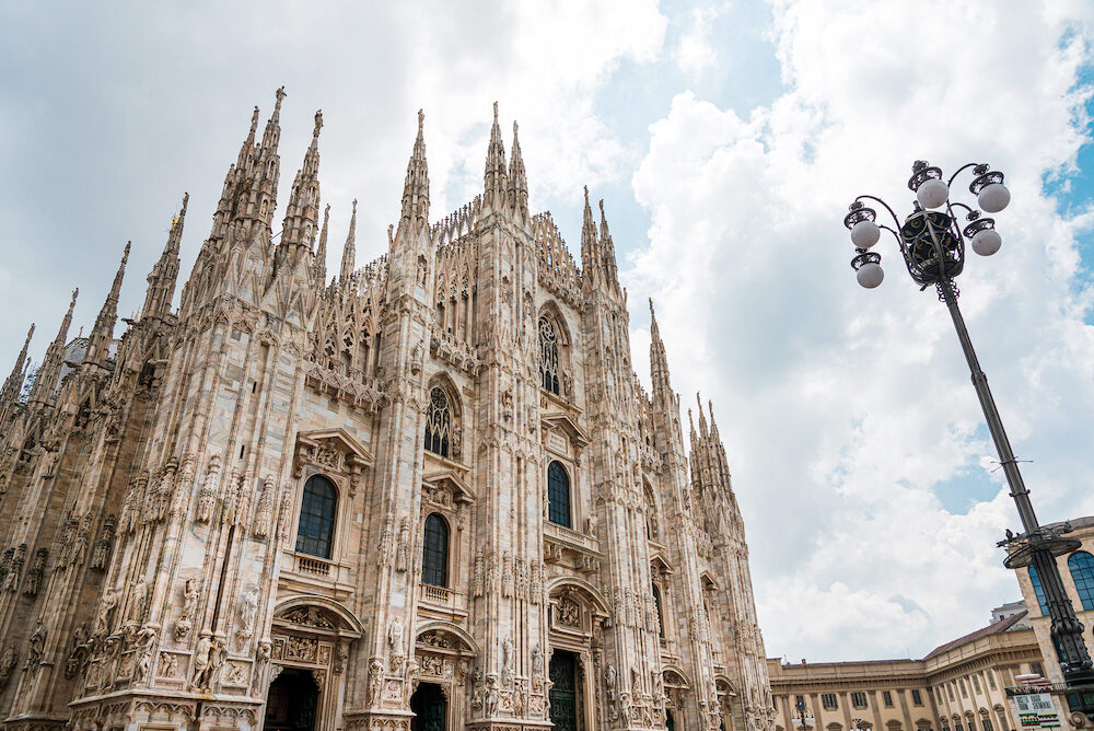 MILAN, ITALY - street view of Milan Cathedral, Dome de Milan is the cathedral church