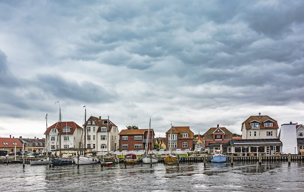 The old harbour in Kerteminde in Denmark