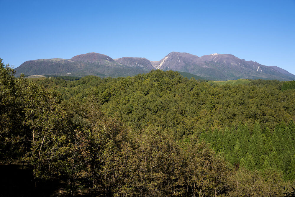 Kuju mountain range at the back of forest under blue sky in Oita