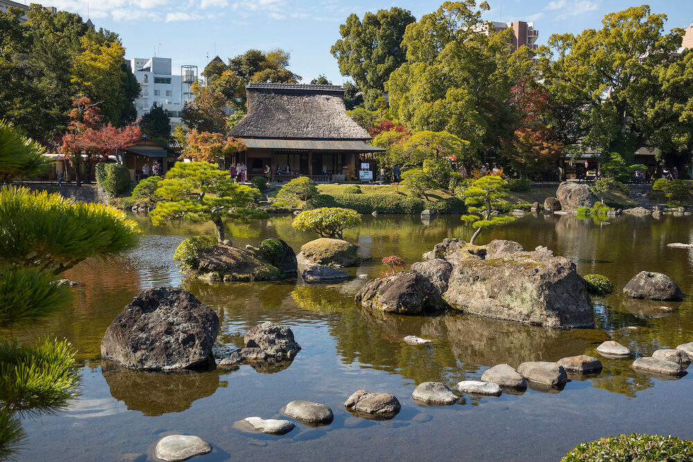 Kumamoto, Japan - Suizenji Garden, Suizenji J?juen, is a spacious Japanese style landscape garden in Kumamoto