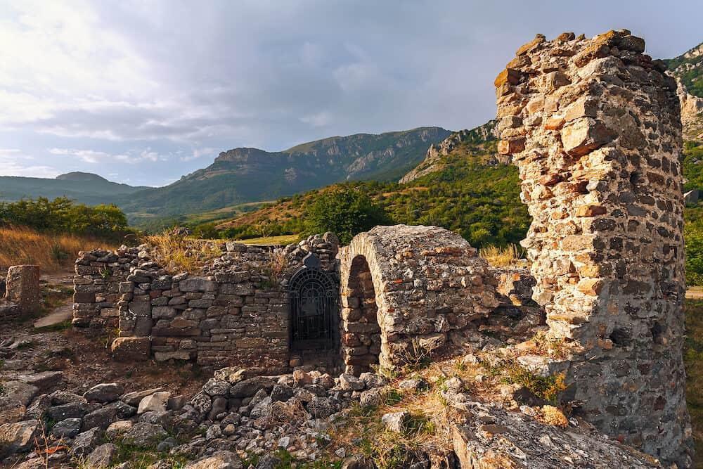 The ruins of the fortress (Funa) at sunset. Crimea, Alushta.