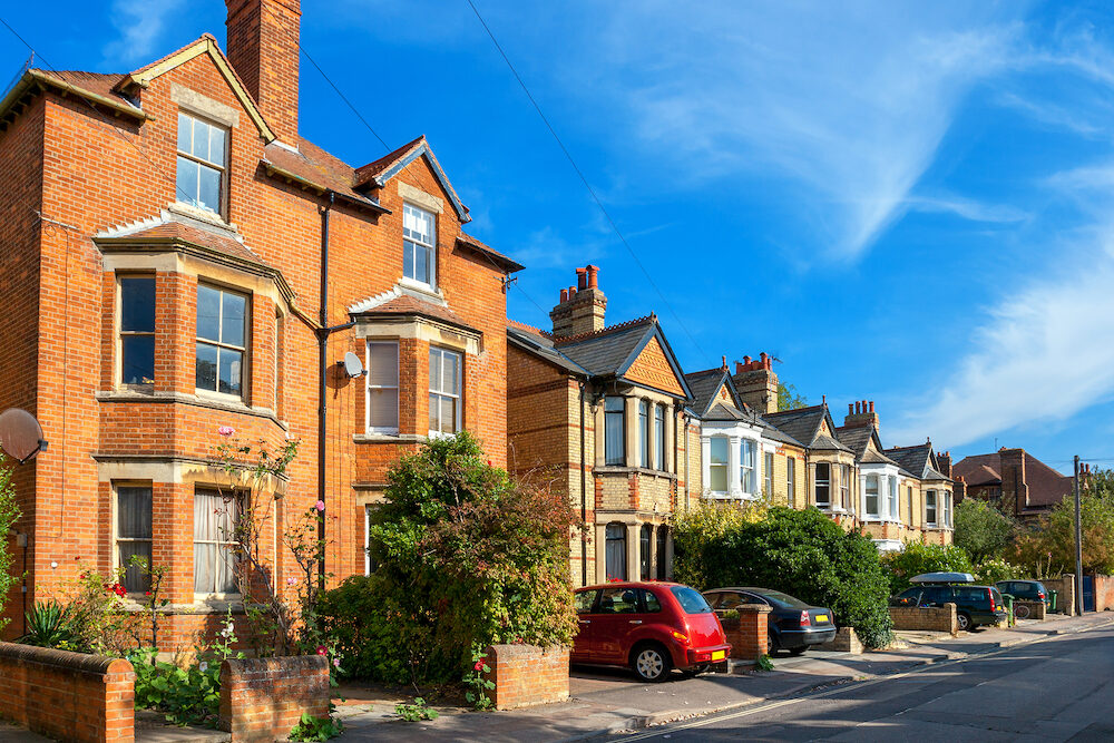 Typical brick town houses in Oxford. England UK