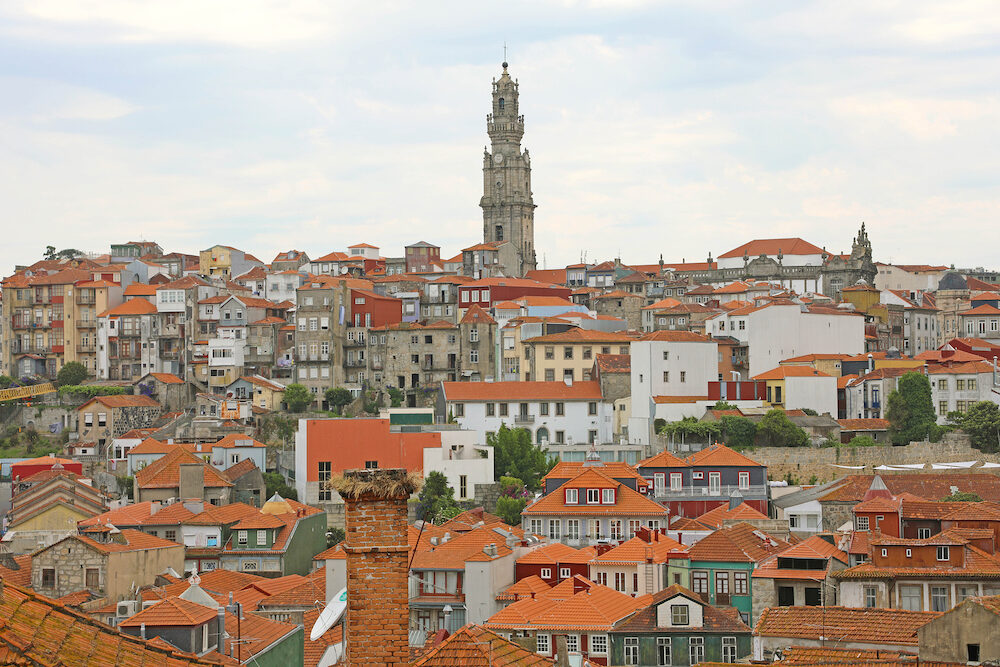 Cityscape of Porto with Torre dos Clérigos bell tower