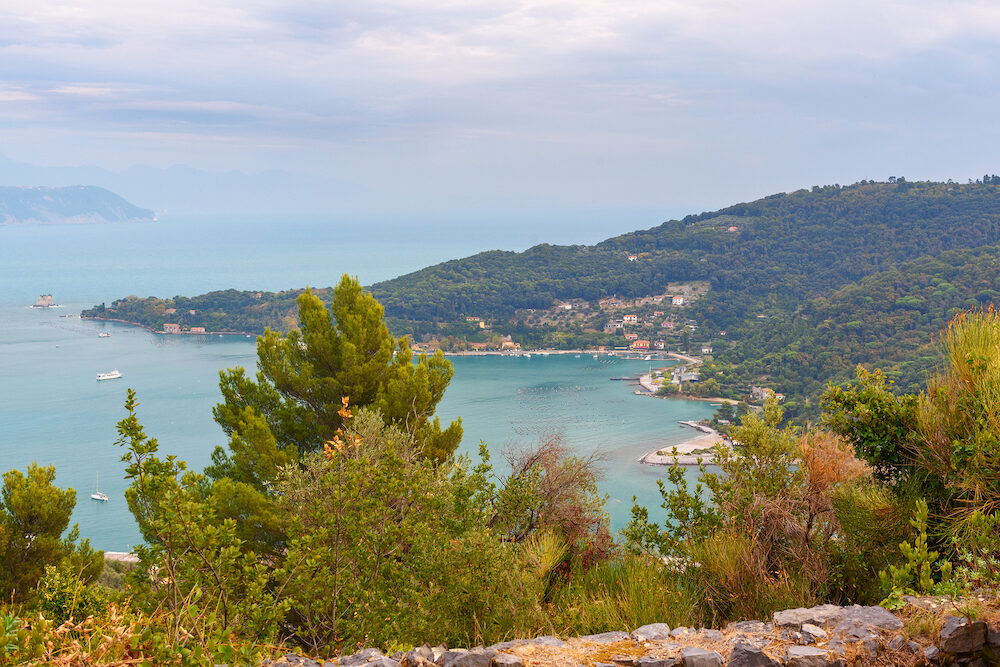 View of Palmaria island from Muzzerone mountain. Portovenere or Porto Venere town on Ligurian coast. Province of La Spezia. Italy