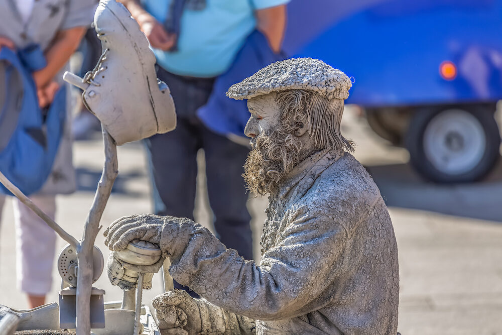 Porto/Portugal - View of statue man, doing shoemaker acting on the street, Porto city, Portugal...