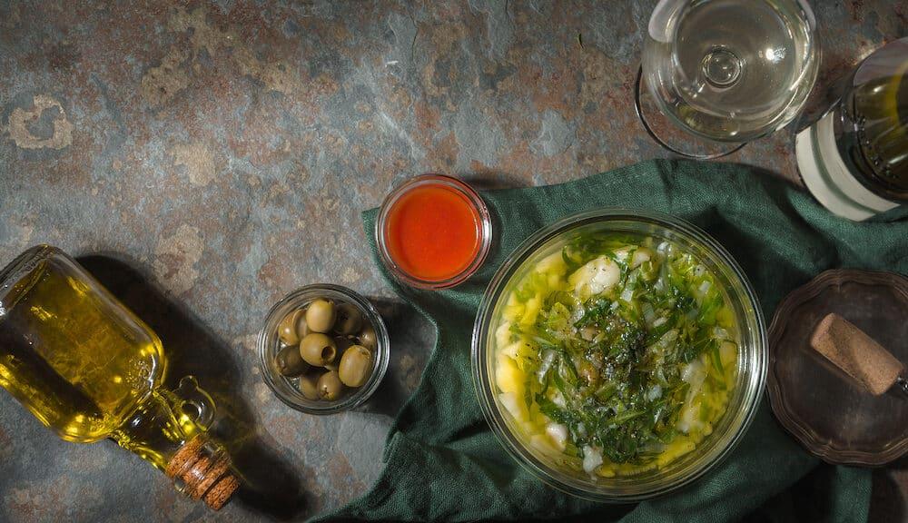 Portuguese soup Caldo Verde on the stone horizontal