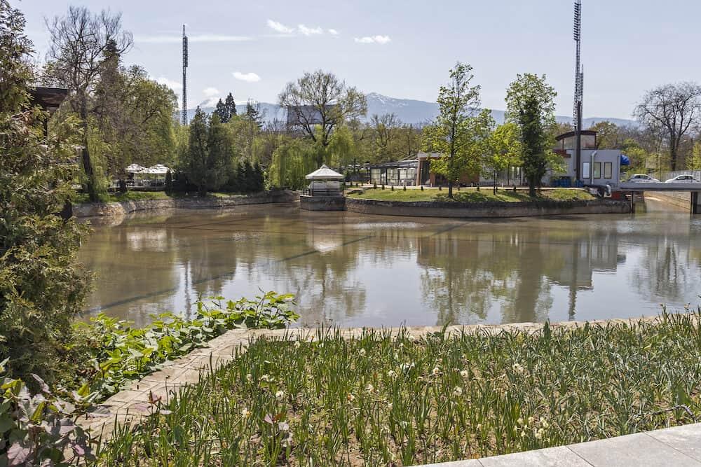 SOFIA, BULGARIA - Ariana Lake at Borisova gradina (Boris Garden) in city of Sofia, Bulgaria