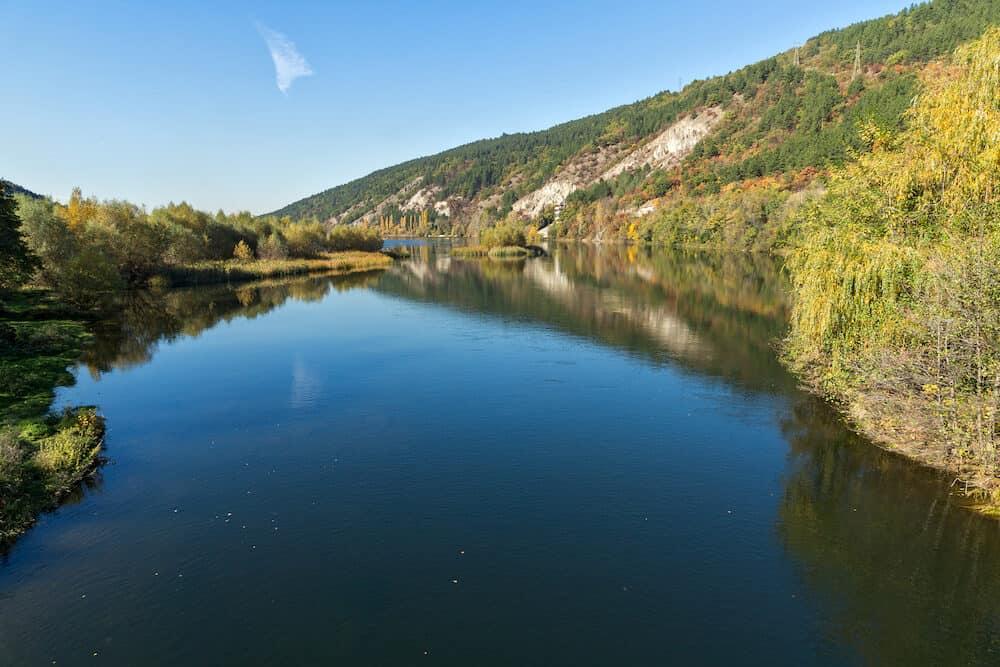 Autumn Landscape of Iskar River near Pancharevo lake, Sofia city Region, Bulgaria