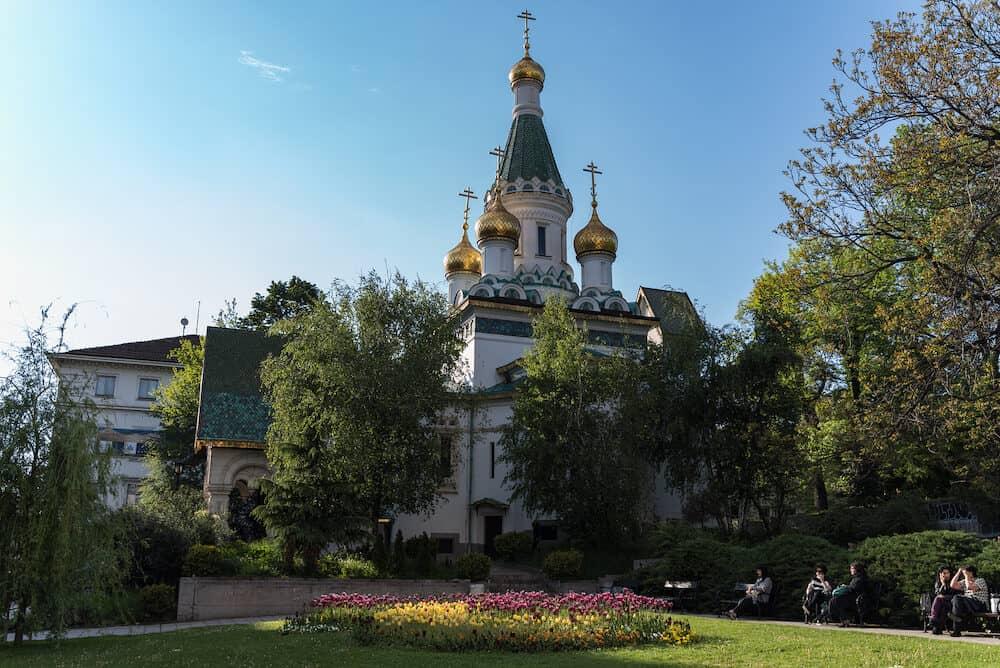 Sofia, Bulgaria - Church of St Nicholas the Miracle-Maker is a Russian Orthodox church in central Sofia, Bulgaria