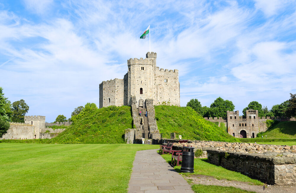 Exterior of Cardiff Castle in Wales, United Kingdom