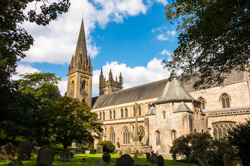 LLandaff Cathedral, Cardiff, South Wales. Spire and South Wall.