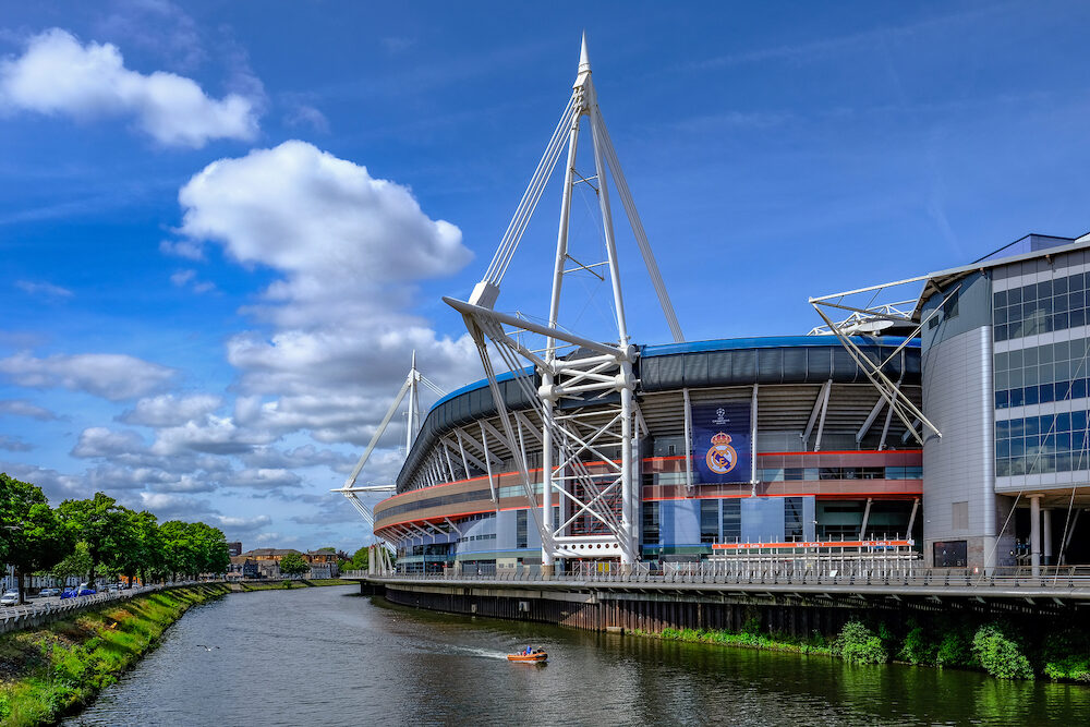 Cardiff Wales - Millennium Football Stadium side view with river