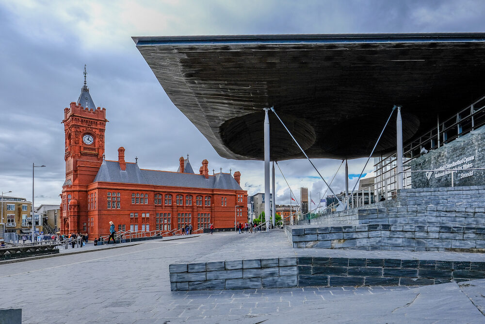 Cardiff Bay Cardiff Wales - : Sinedd National Assembly building and Pierhead builidng. View looking towards Pierhead Building.