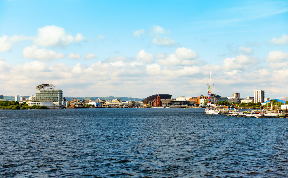 Cardiff, United Kingdom - Panoramic view of Cardiff Bay and Mermaid Quay in Cardiff, Wales.