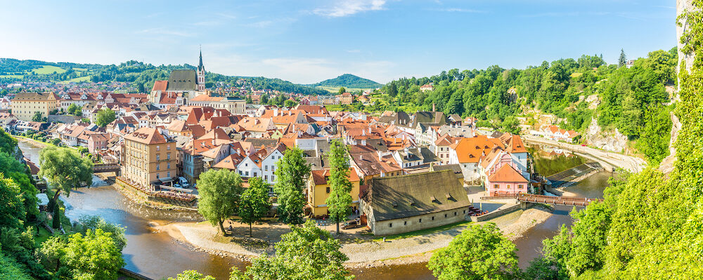 CESKY KRUMLOV,CZECH REPUBLIC -- Panoramic view at the Cesky Krumlov town with meander of Vltava river. Cesky Krumlov is a town in the South Bohemian Region of the Czech Republic.