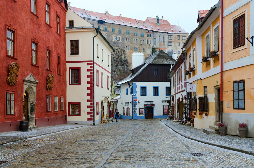 CESKY KRUMLOV, CZECH REPUBLIC - Street in historic center of small medieval town of Cesky Krumlov, world cultural heritage site protected by UNESCO, Czech Republic