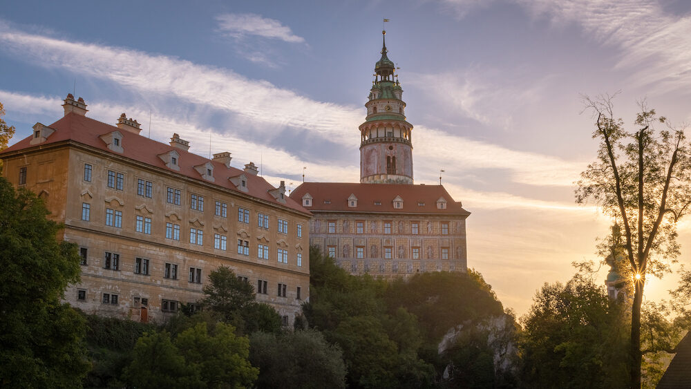 View of the State Castle and Chateau Cesky Krumlov in the Czech Republic during morning sunrise