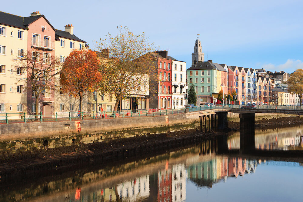St Patrick's Quay on the north channel of river Lee. Cork City Ireland