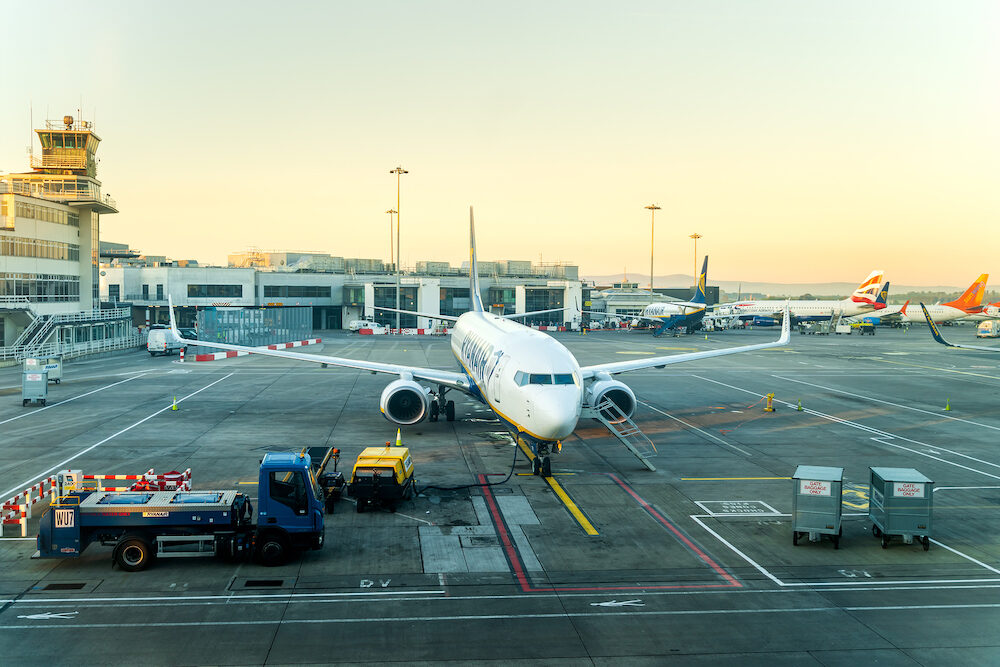 Dublin, Ireland - Dublin airport Terminal 1, multiple airplanes are being prepared on airfield for flights