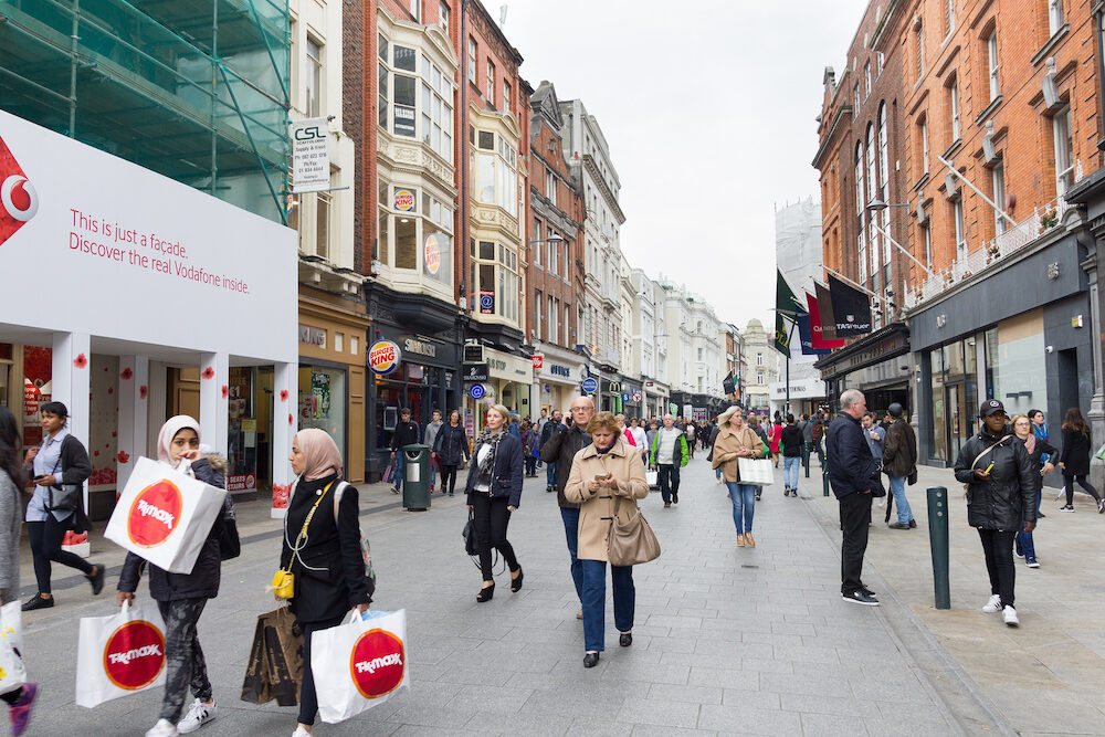 DUBLIN, IRELAND - : People walking on the Grafton Street. The main shopping street in the city is one of the most expensive in the world.