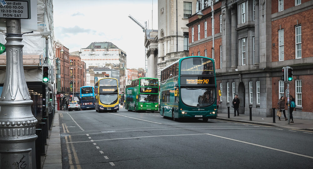 Dublin, Ireland - Typical bus traveling down Dublin Street on a winter day